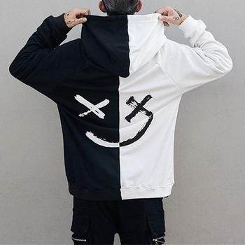 Men women smile hoodies 2020 winter hip hop print oversized sweatshirts fashion patchwork unisex couple streetwear for men