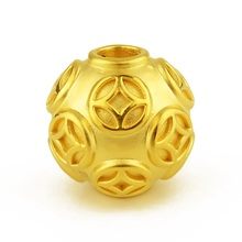 Pure 24K Yellow Gold 3D Lucky Coin-Pattern Round Bead Pendant - 8mm, 10mm, 12mm, 14mm, 16mm new authentic 24k 999 yellow gold pendant 3d lucky rose pendant 1 18g