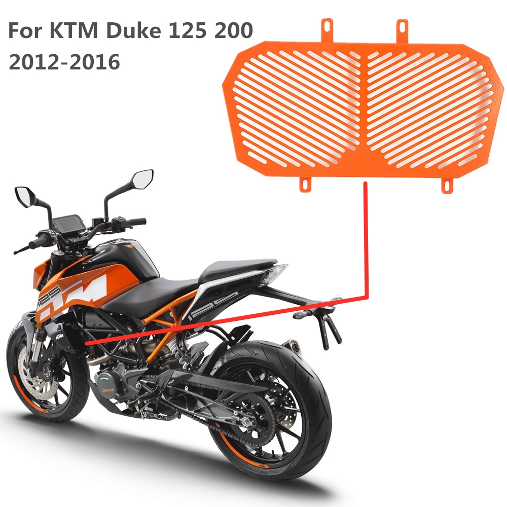 Motorcycle Radiator Grille Cover Guard Protector For KTM Duke 125 200 2012 2013 2014 2015 2016 Orange Black Stainless Steel image