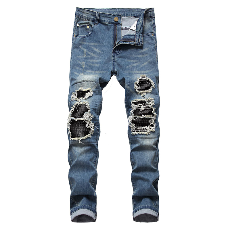 Sokotoo Men's PU Leather Patchwork Ripped Biker Jeans Streetwear Pleated Stretch Denim Pencil Pants Blue Black