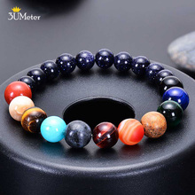 2019 Eight/Nine Planets Bead Bracelet for Women Solar System Universe Galaxy Guardian Star Natural Stone Beads
