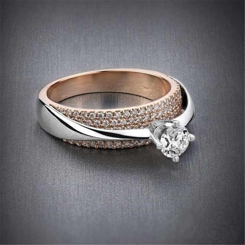 Luxus Männlich Weiblich Große Kristall Stein Ring 14KT Rose Gold Hochzeit Schmuck Versprechen Engagement Ringe Für Männer Und Frauen
