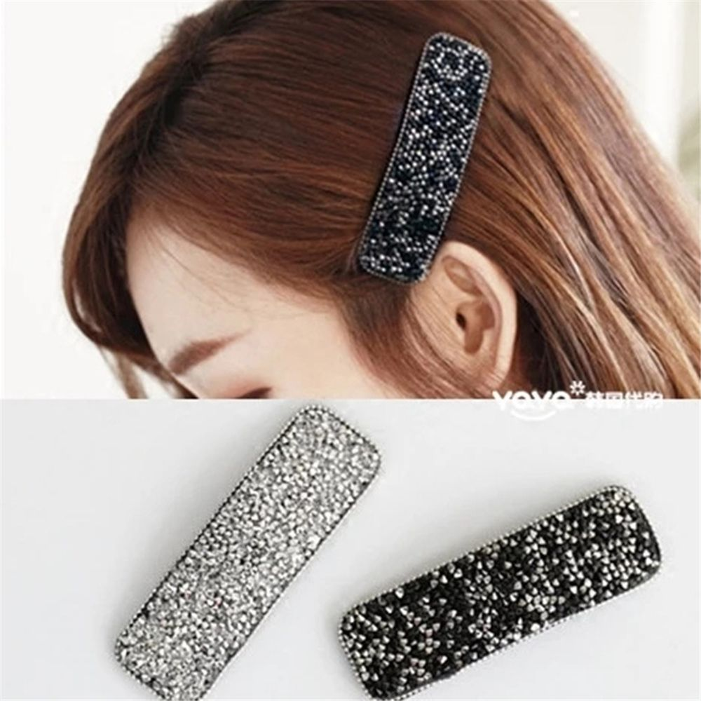 Women Shining Crystal Rhinestone Hairpins Barrettes Girls Simple Geometric Hair Clips Metal Hairgrip Hair Styling Accessories