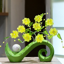 Creative home decor ceramic abstract vase and acrylic crystal flowers Modern fashion table fake