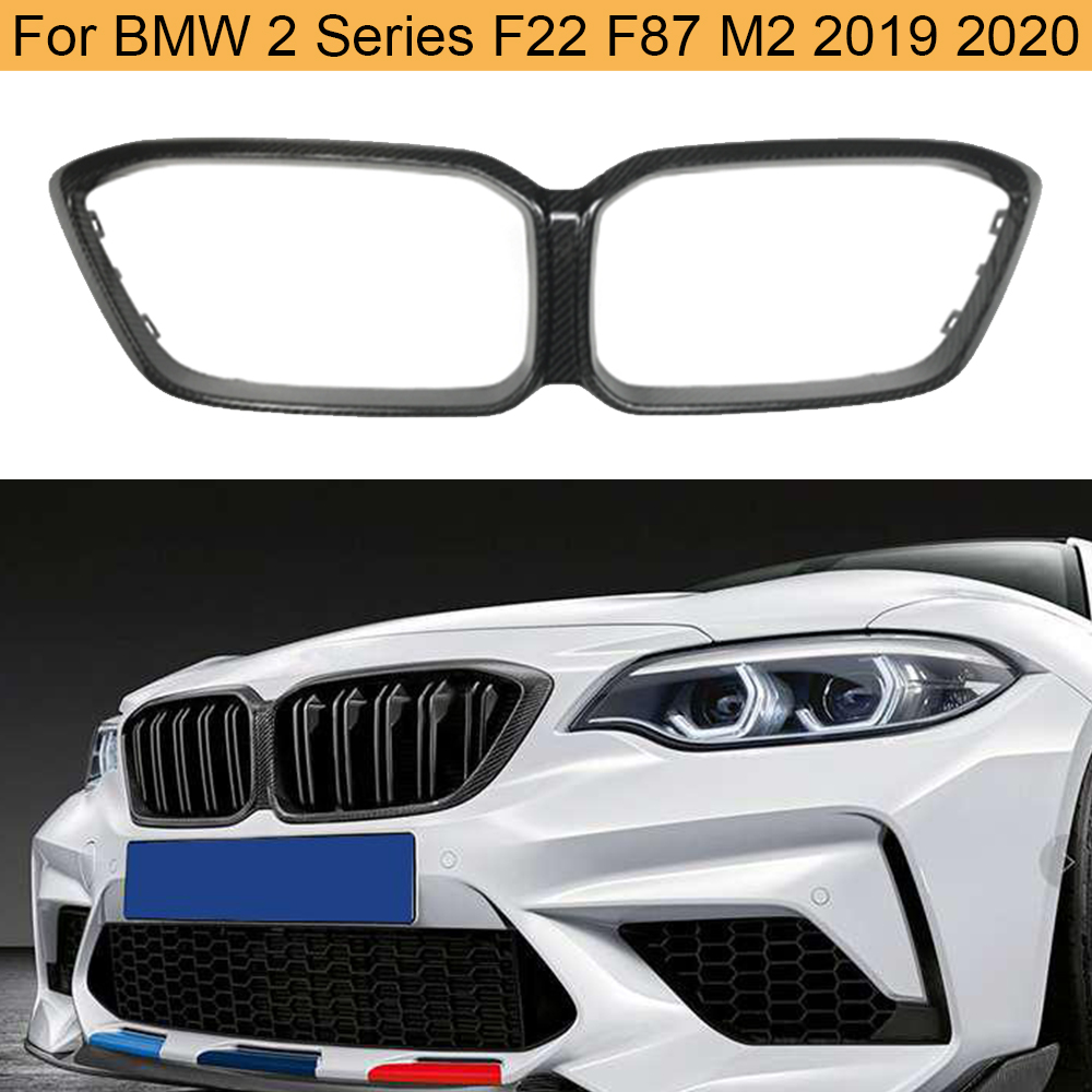 For BMW F22 F87 M2 2019 2020 Front Bumper Grill Frame Cover Carbon Fiber Front Grille Frame Mesh Cover image