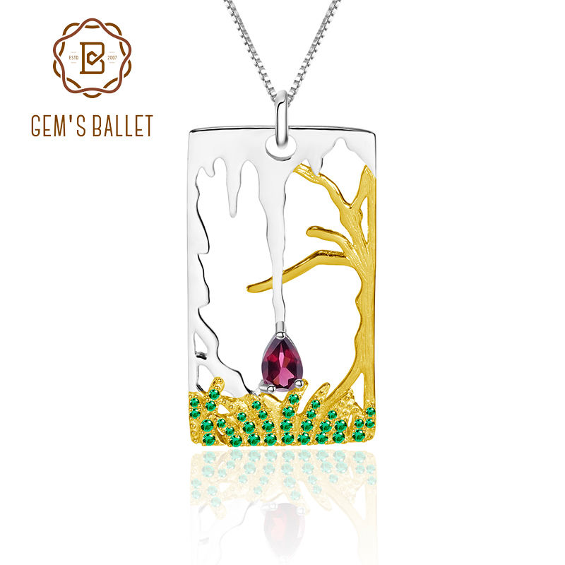 GEM'S BALLET A Sad Love Story Natural Rhodolite Garnet Fine Jewelry 925 Sterling Silver Pendant Necklace For Women Halloween