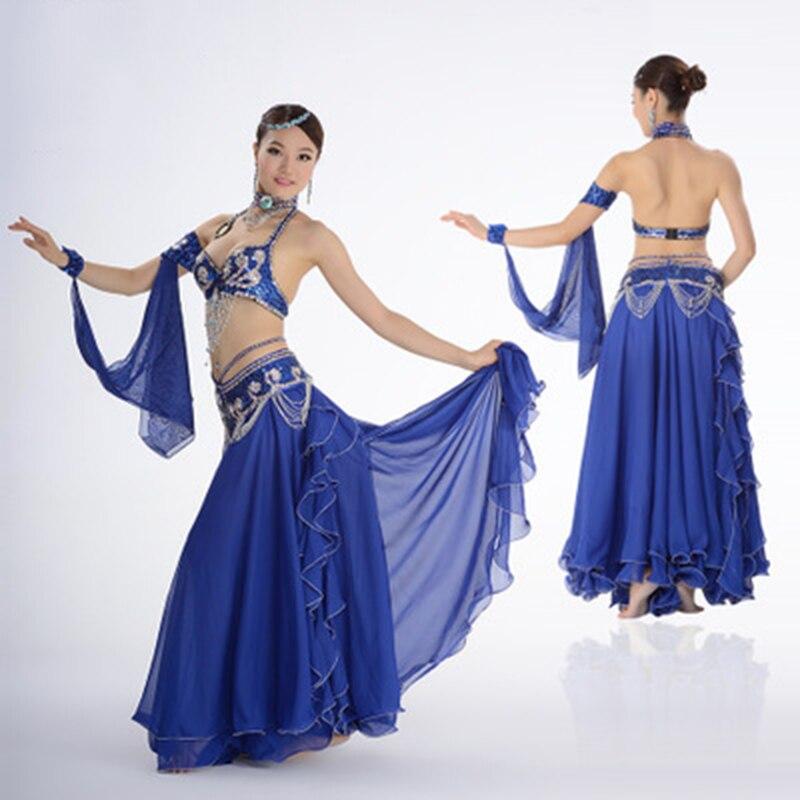 Костюм для танца живота, одежда для выступлений с бисером для женщин, костюмы для танца живота, бюстгальтер, пояс, юбка, комплекты одежды