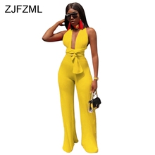 ZJFZML Sexy Backless Lace Up Bodycon Jumpsuit Women Deep V Neck Sleeveless Party Club Bodysuit 2019 Casual Solid Wide Leg Romper