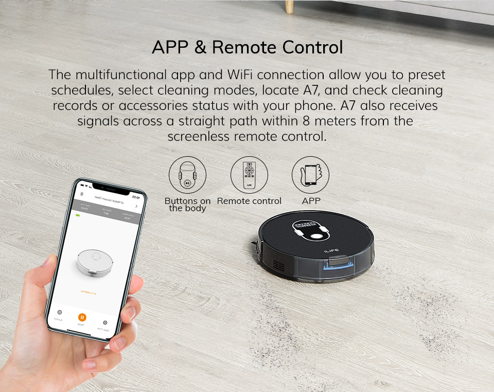 Hc3ebf4c436764e13b48c95c7b0b6db031 ILIFE A7 Robot Cleaner Vacuum Smart APP Remote Control for Hard Floor and Thin Carpet Automatic Recharge Slim Body