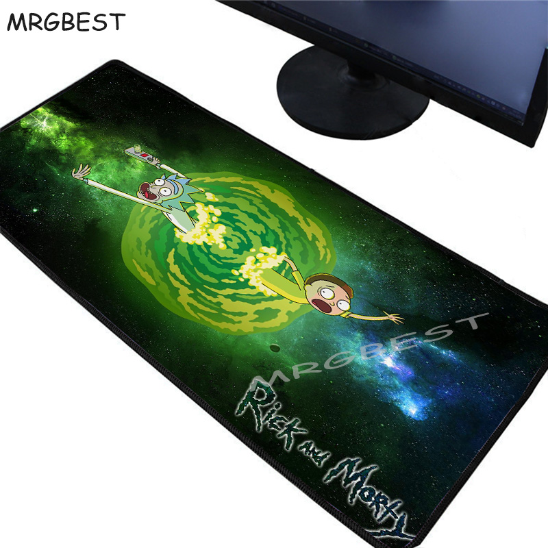 MRGBEST 40x90/30x80CM Rick And Morty Anime Large Size Gaming Mouse Pad Black Lockedge Keyboard Desk Pad Rubber Mat For Lol Cs Go