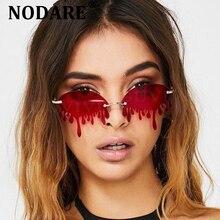 NODARE 2020 Newest Teardrop Blood Sunglasses Women Brand Fashion Rimless Sun Gla
