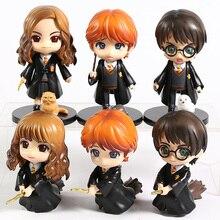 6 unids/set QPosket ojos grandes Potter Weasley Ron Hermione Granger Snape PVC figura de acción muñeca de juguete Regalo de Cumpleaños de Navidad