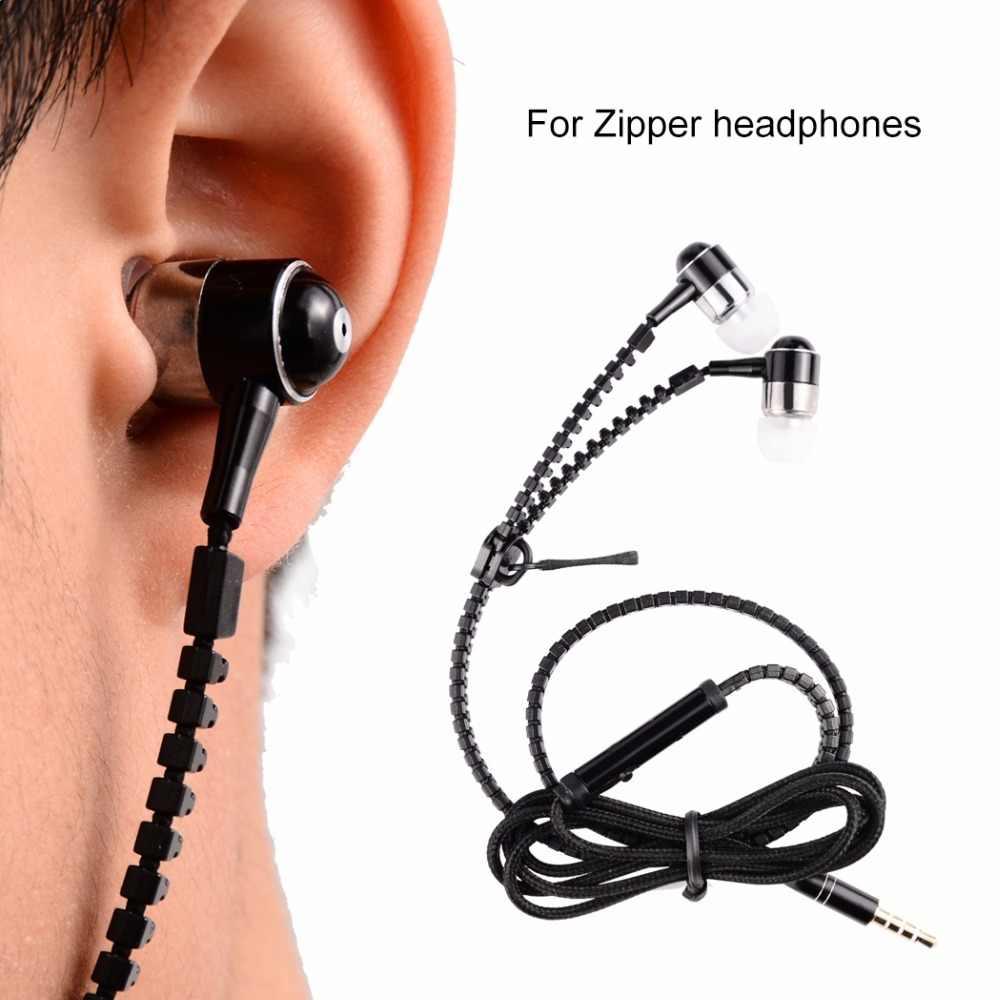 Auriculares de Metal con cremallera en el oído auriculares deportivos 3,5mm auriculares universales MP3 con micrófono para ios xiaomi fone de ouvido