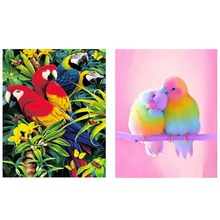 "Terbaik 2 Set Penuh 5D DIY Diamond Lukisan Cross Stitch 3D Diamond Bordir Berlian Imitasi Dekorasi Lukisan v091 ""Parrot"" & V114 ""P(China)"