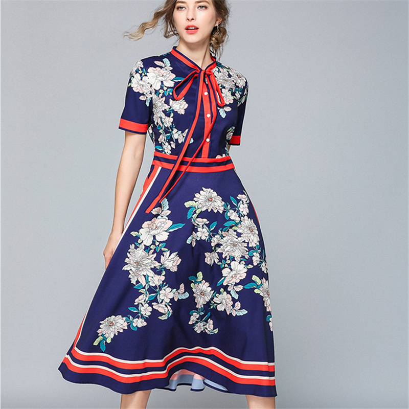 Designer Dresses Runway 2019 High Quality Autumn Casual Shirt Dress Women bow Vintage Dress Vestidos Robe Femme