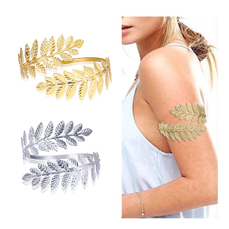 Boho Vintage Feather Shaped Arm Bracelet Arm Bands cb5feb1b7314637725a2e7: Gold|Silver