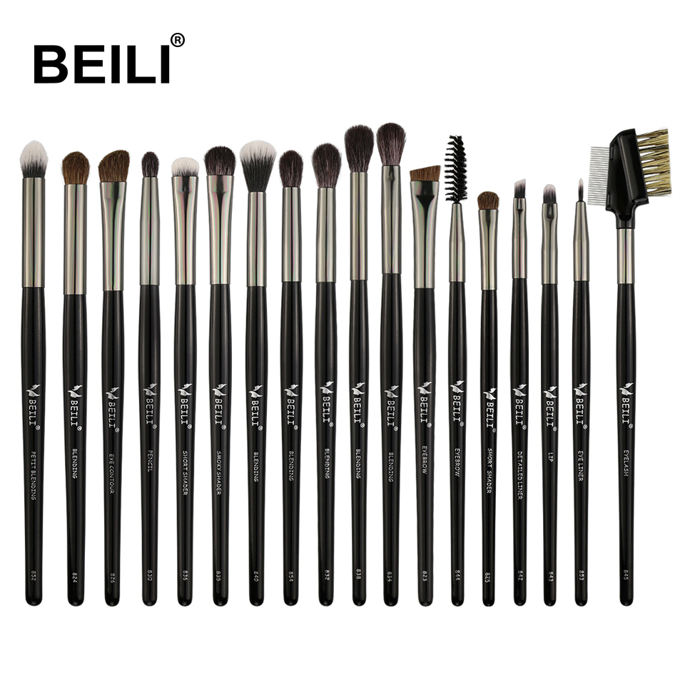 BEILI Goat Hair Pony Eye Shadow Blending Smoky Shade Eyeliner Makeup Brush Black Professional 18pcs Eye Makeup Brushes Set