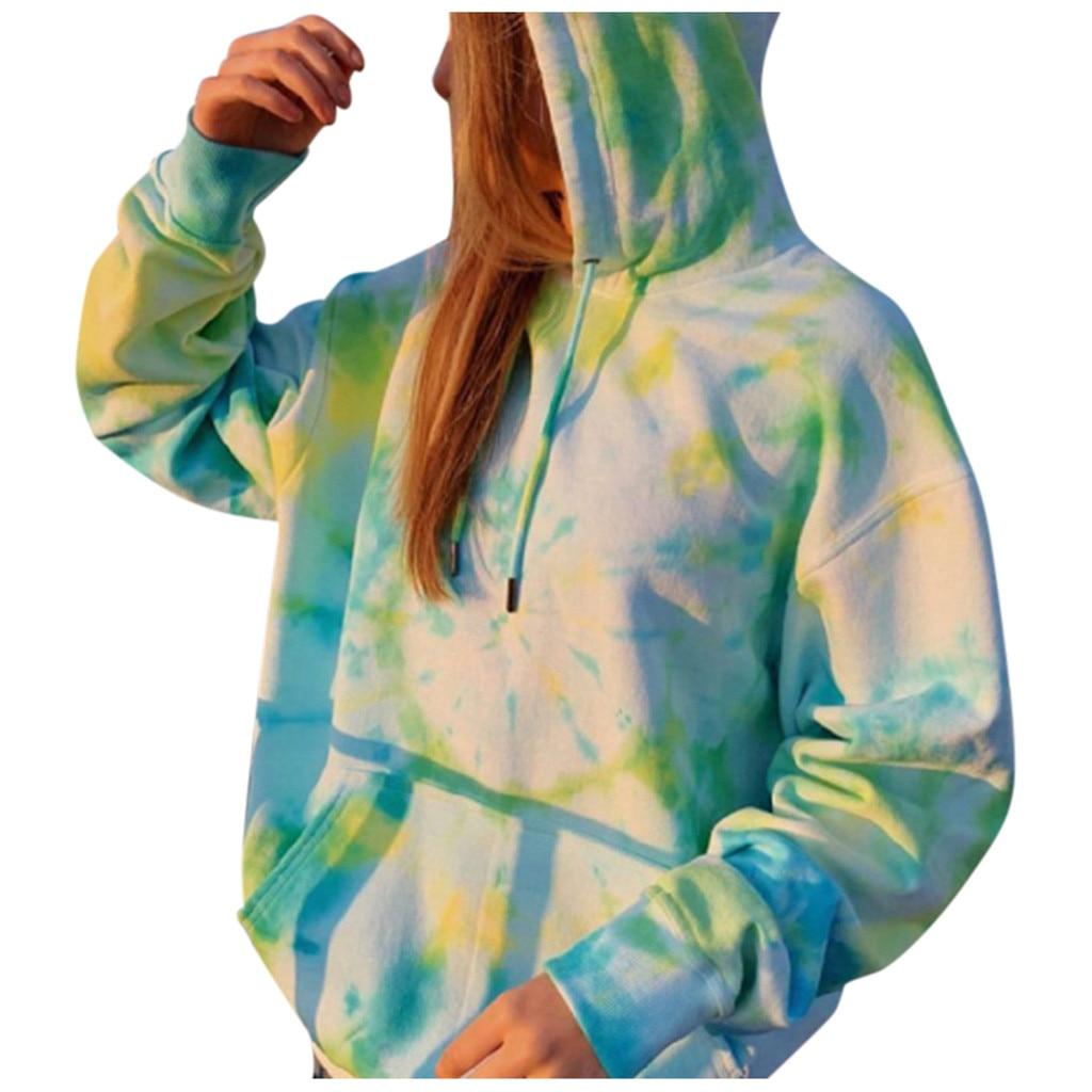Rainbow Hoodies Women Sweatshirt Oversize Tie Dye Hoodie Streetwear Pullover Spring Autumn Casual Women Sweatshirts Hoddies Tops 8