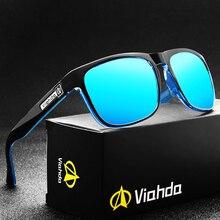 VIAHDA yeni polarize güneş gözlüğü erkekler kadınlar marka tasarım Vintage erkek kare spor güneş gözlüğü sürüş erkekler için Shades gözlük