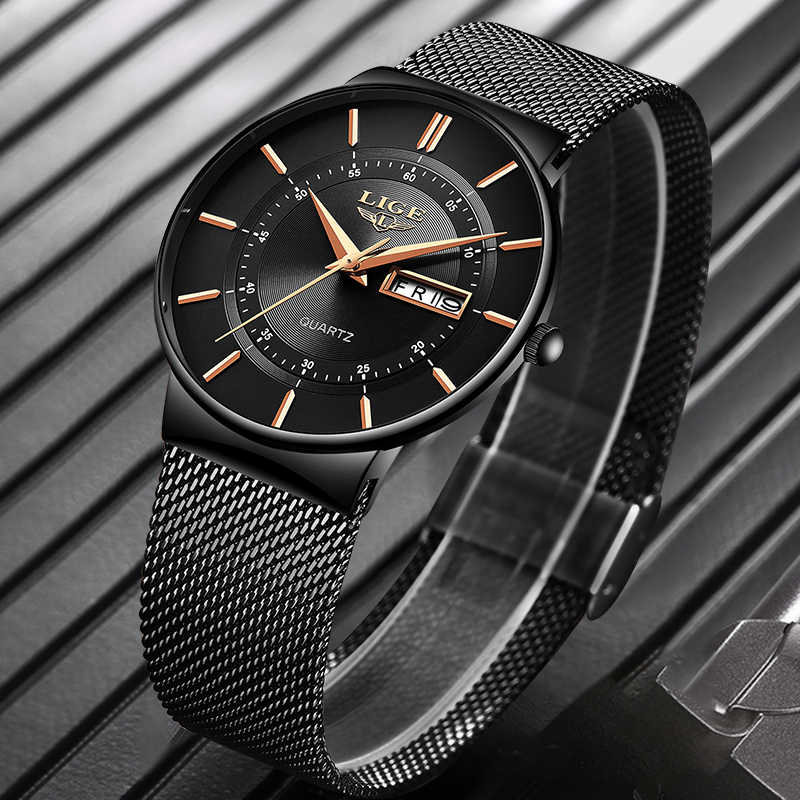 Mens שעונים ליגע למעלה מותג יוקרה עמיד למים Ultra דק תאריך שעון זכר רצועת פלדה מזדמן קוורץ שעון גברים ספורט יד שעון