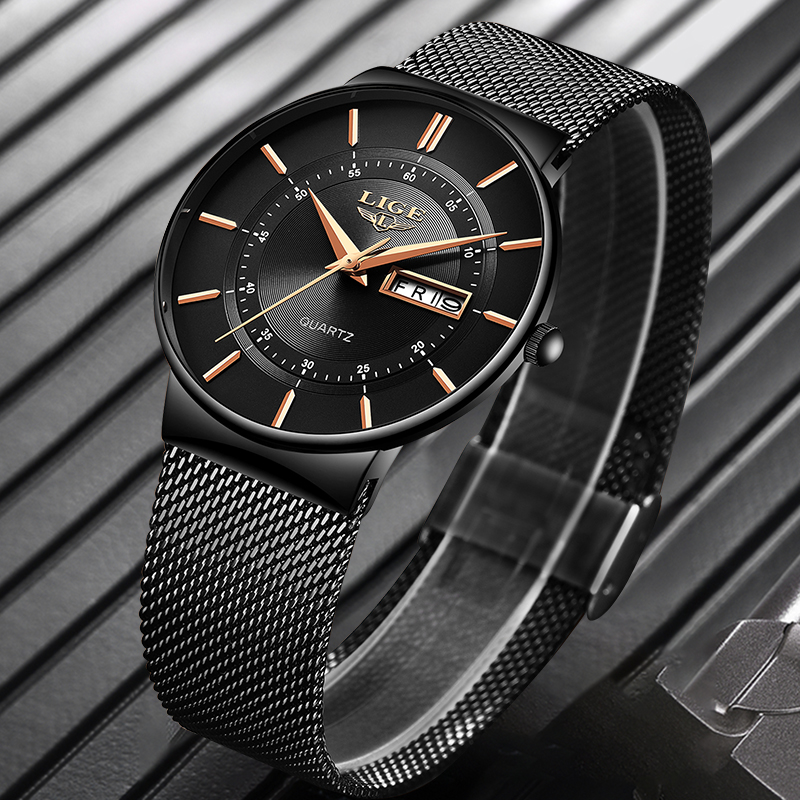 Image 3 - Mens Watches LIGE Top Brand Luxury Waterproof Ultra Thin Date Clock Male Steel Strap Casual Quartz Watch Men Sports Wrist Watch-in Quartz Watches from Watches