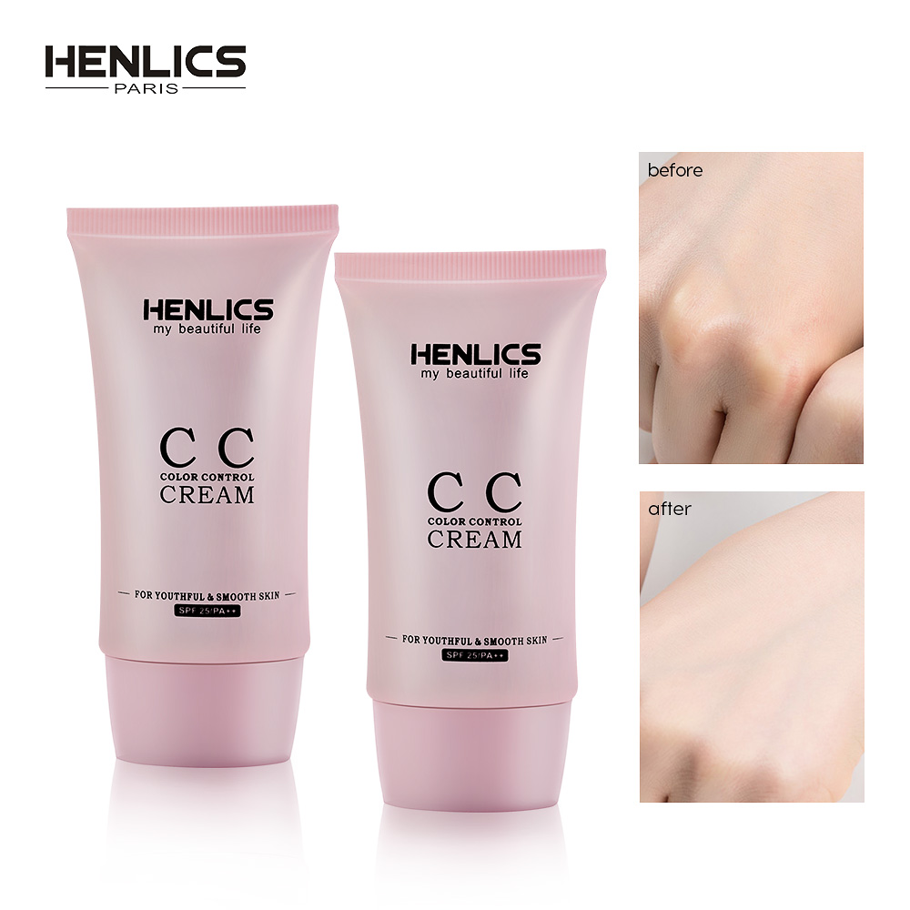 HENLICS Face CC cream SPF 25+ Korean Cosmetic Moisturizer Makeup Oil control Concealer Finish BB base Make Up image