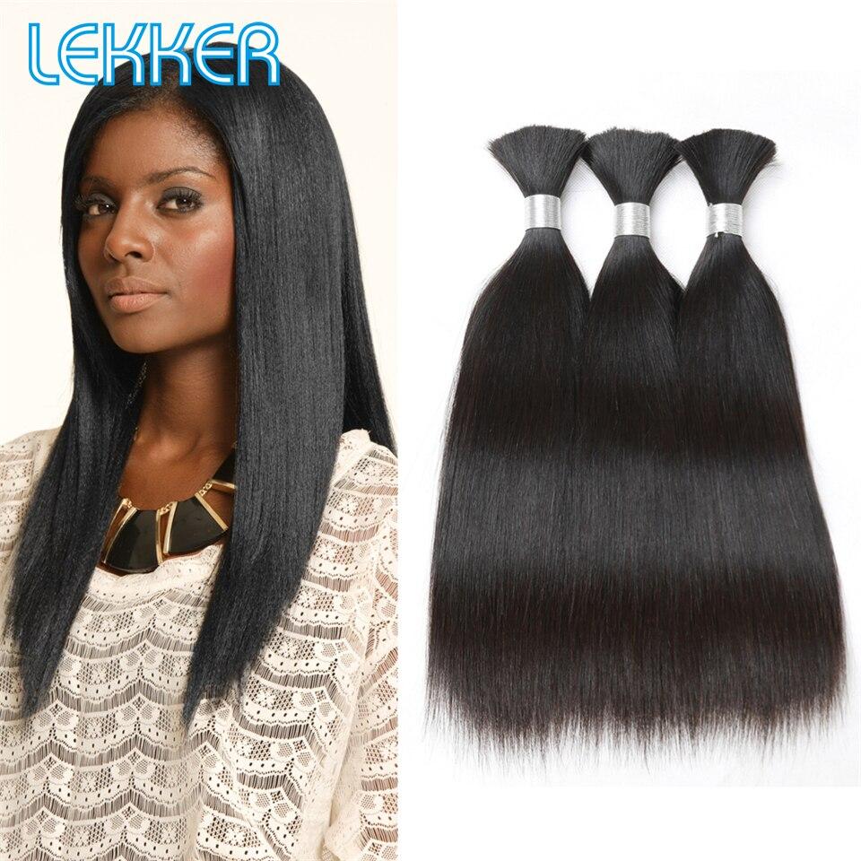 Lekker Straight Hair Bulk 10-30 Indian Hair Remy Human Hair 3 Bulk DIY Hair Bulk Natural Color 100% Human Hair Bulk