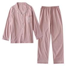Pijamas de inverno para mulheres manga comprida estampado conjunto de pijamas coreano manga comprida pijamas plus size feminino pj conjunto fino mujer