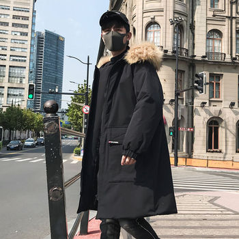 2020 Winter Hip Hop Fashion Long Fur Collar Coat Cotton Jacket Hoodies Clothing Street Wear Outerwear & Coats Warm Thick