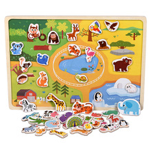 New Wooden Magnetic Puzzle Animal and Traffic Vehicle Game Children Baby Early Educational Learning Toys Jigsaw Puzzles for Kids cheap Logwood CN(Origin) Unisex 2-4 Years 5-7 Years 3 years old do not eat LM-196 Animal Traffic Vehicle 20 5*28 5cm