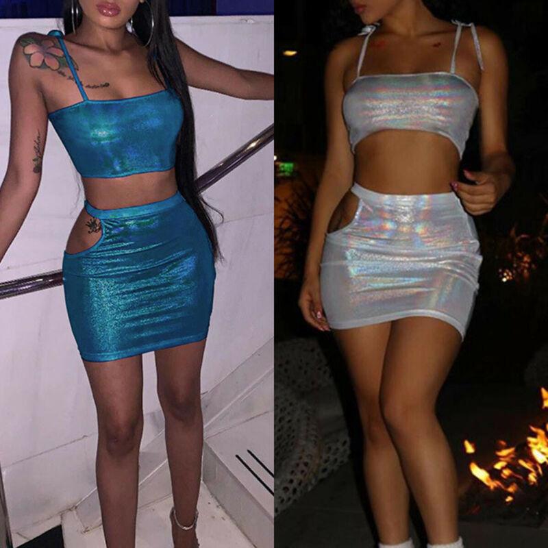 Two Pieces Set Womens Sleeveless Crop Tops Shirt Summer Hollow Out Bodycon Mini Skirt Ladies Clubwear Dress 2pcs set