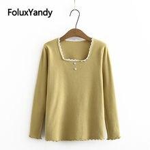 Базовый свитер для женщин кружевной квадратный воротник оборки