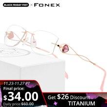 FONEX Filo di Titanio Occhiali Senza Montatura Donne Ultralight di Lusso Occhiali Telaio Occhiali di Diamanti Guarnizioni Cut Miopia Eyewear Ottica 923