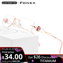 FONEX Wire Titanium Rimless Glasses Women Ultralight Luxury Eyeglasses Frame Diamond Trimming Cut Myopia Optical Eyewear 923