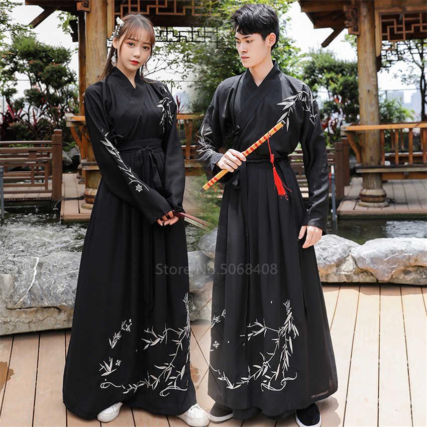Coppia Intrattenimento Musiche E Canzoni del Vestito Cinese Tradizionale Retro Ricamo Samurai Spadaccino Cosplay Costume Folk Dance Dinastia Han Abbigliamento Set