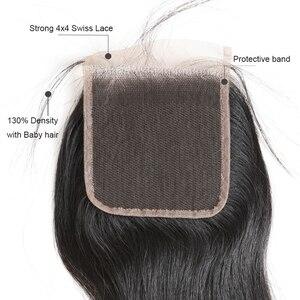 Image 4 - עלי מלכת שיער 3/4pcs פרואני ישר רמי שיער טבעי חבילות עם סגירת 4x 4/13x4 שוויצרי תחרת סגירת חלק חינם משלוח חינם