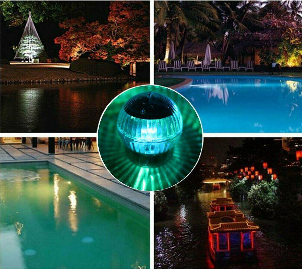 3pcs Solar Floating Lamp LED Garden Waterproof Pond Swimming Pool Decor Light