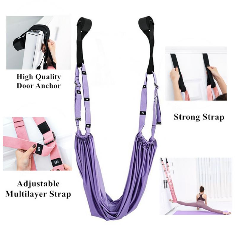 Adjustable Aerial Yoga Strap Hammock Swing Stretching Anti gravity Inversion Exercises Multilayer Belt Yoga Flexibility Trainer