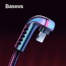 Baseus USB кабель для iPhone XR 2.4A локоть зеленый светодиодный кабель быстрой зарядки для iPhone 11X8 7 6 6s Plus IOS данных зарядное устройство USB кабель