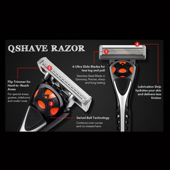 Qshave Black Spider New 6 Blade System Man Manual Shaving Razor Germany X6 Blade with Trimmer Blade, 4 & 8 &16 Cartridges Choice 5