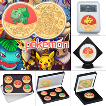 WR Anime Pocket Monsters Gold Plated Coins Collectibles with Coin Holder Japanese Pokemon Commemorative Coin Gift Dropshipping