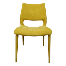 Steel legs metal seat covered in PU or fabric Dining chair