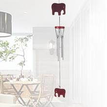 Vintage Wooden Wind Chimes Elephant Copper Pipe Home Garden Hanging Decoration shape with copper wire design great gift family