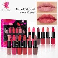 Cellacity matte lipstick set 12pcs/lot Waterproof Long Lasting s Nude Red Velvet Pigment Batom Women Fashion Lip Makeup