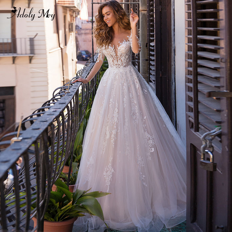 Adoly Mey New Charming Scoop Neck Button A-Line Wedding Dresses 2020 Luxury Appliques Long Sleeve Vintage Bridal Gown Plus Size