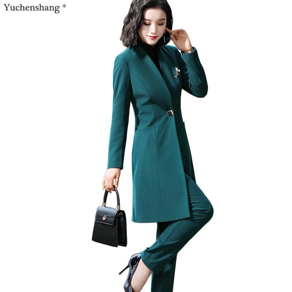 Женский рабочий брючный костюм зеленый черный комплект из 2 предметов 2019 новый осенне зимний Длинный блейзер на одной пуговице пиджак и брюки для офисных леди
