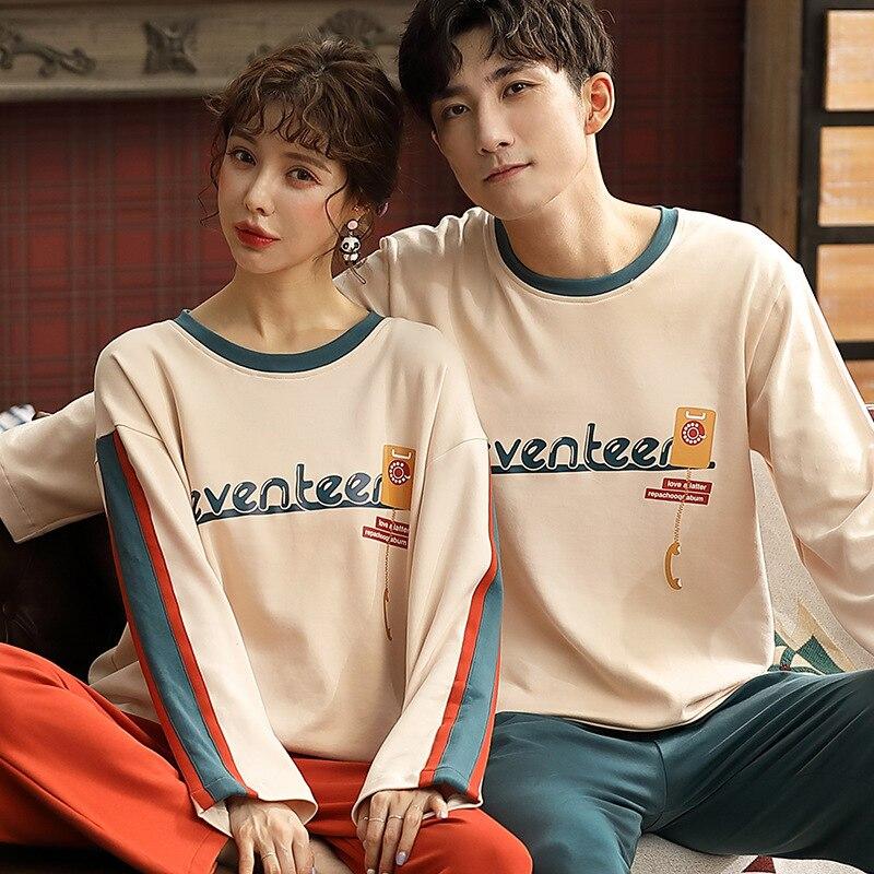 Couple Pajamas 100% Cotton Cartoon Pajamas For Women Long Sleeve Pajamas Men Sleepwear Pijama Hombre Home Suit Christmas Gift