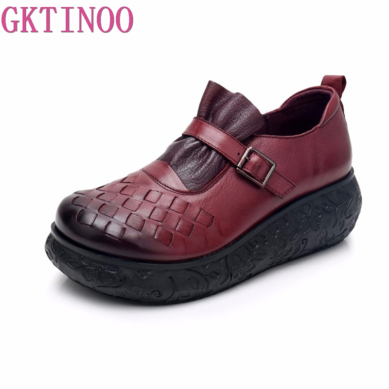 GKTINOO Flat Platform Woman Shoe Handmade Genuine Leather Flats Soft Comfortable Shoes for Women Ladies Shoes