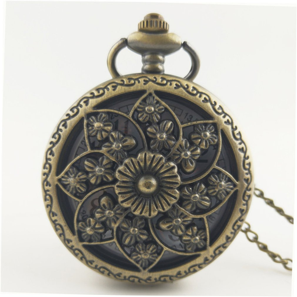 Vintage Hollow Classic Butterfly Flowers Charm Fashion Men Women Quartz Pocket Watch Unisex Necklace Pendant Chain Gifts