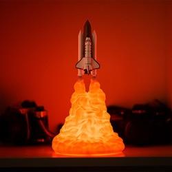 3D Print prom kosmiczny lampka nocna dla fanów kosmicznych lampa księżycowa lampa rakietowa jako dekoracja pokoju led dekoracyjna lampka stołowa w Oświetlenie nocne LED od Lampy i oświetlenie na